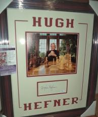 Hugh Hefner Playboy Legend Autographed Signed Double Matted & Framed Jsa Coa