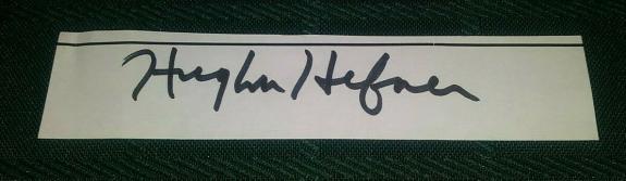 Hugh Hefner Playboy Legend Signed Autographed 1x2 Paper Cut W/coa Authentic Rare