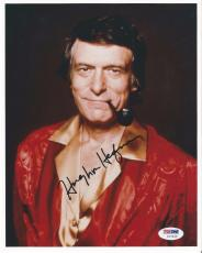 Hugh Hefner Playboy Legend Signed Autographed 8x10 Photo Psa/dna Loa Rare L@@k