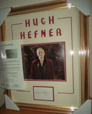 Hugh Hefner Playboy Legend Signed Autographed Double Matted & Framed Jsa Loa