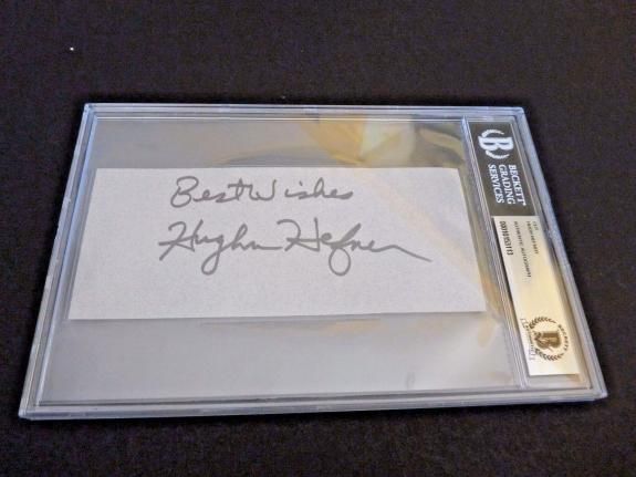 Hugh Hefner Playboy Signed Autographed 3x7 Cut Beckett Certified & Slabbed