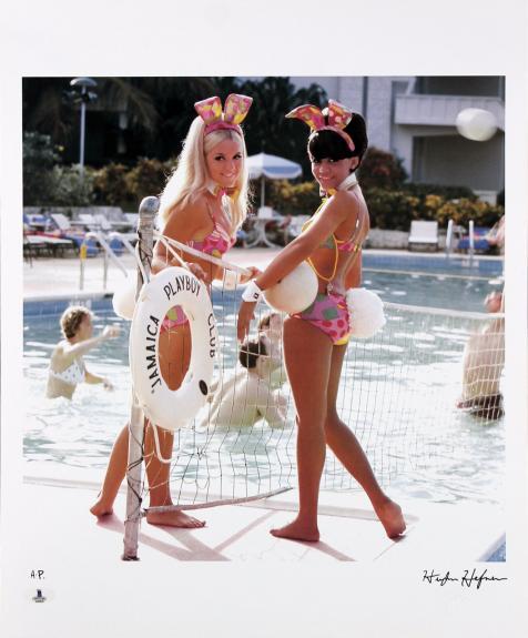 Hugh Hefner Signed 16.5x20 Playboy Artist Print Photo BAS #A02016