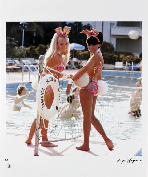 Hugh Hefner Signed 16.5x20 Playboy Artist Print Photo BAS #A02017