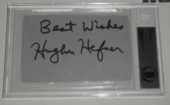 Hugh Hefner Signed 3x5 Cut Card BAS Beckett COA Playboy Gem Mint 10 Autograph
