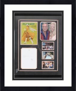 Hugh Hefner Signed Playboy Magazine & Party Invite Display – COA JSA