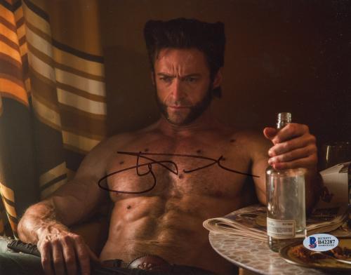 "Hugh Jackman Autographed 8"" x 10"" Drinking Photograph - Beckett COA"