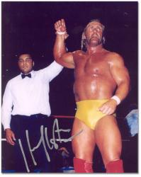 Hulk Hogan Autographed 8'' x 10'' with Muhammad Ali Photograph  - Mounted Memories
