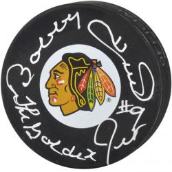 Bobby Hull Chicago Blackhawks Autographed Logo Puck with Golden Jet #9 Inscription - Mounted Memories