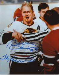 Bobby Hull Chicago Blackhawks Autographed 8'' x 10'' Blood Photograph with The Golden Jet Inscription - Mounted Memories