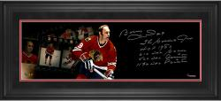 "Bobby Hull Chicago Blackhawks Framed Autographed 10"" x 30"" Filmstrip Photograph with Multiple Inscriptions-#2-8, 10-24 of a Limited Edition of 24"