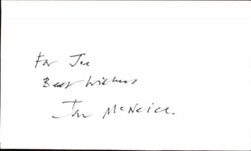 "IAN MCNIECE ACE VENTURA Signed 3""x5"" Index Card"