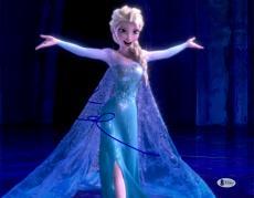 "Idina Menzel Autographed 11"" x 14"" Frozen Elsa Singing with Arms Wide Open Photograph - Beckett COA"