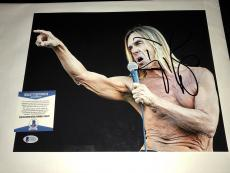 Iggy Pop Hand Signed 11x14 Photo Beckett BAS Cert