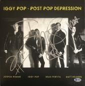 Iggy Pop Post Pop Derpression Band Signed Album Cover Josh Homme Beckett Bas Loa