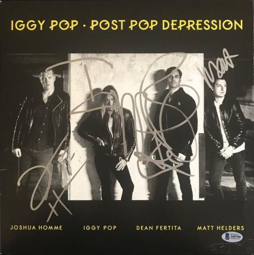 Iggy Pop Post Pop Derpression Band Signed Album Cover Josh Homme Beckett Bas Loa
