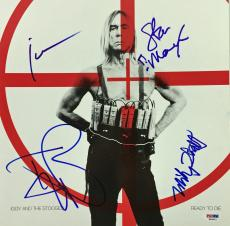 Iggy Pop & The Stooges Signed Ready To Die Album 4 Sigs Psa/dna Coa #w04873