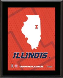 "Illinois Fighting Illini Sublimated 10.5"" x 13"" State Plaque"