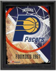 """Indiana Pacers Team Logo Sublimated 10.5"""" x 13"""" Plaque"""