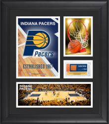 """Indiana Pacers Team Logo Framed 15"""" x 17"""" Collage with Team-Used Baseketball"""