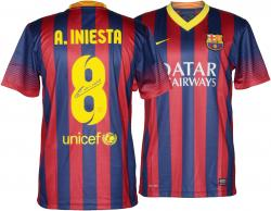 Andres Iniesta Autographed Jersey - Blue Black Mounted Memories Mounted Memories