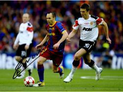 "Andres Iniesta F.C. Barcelona Autographed 16"" x 12"" Dribbling Photograph"
