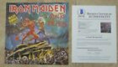 "Iron Maiden Run To Hills X5 Band Signed 12"" LP Single Display BECKETT Certified"