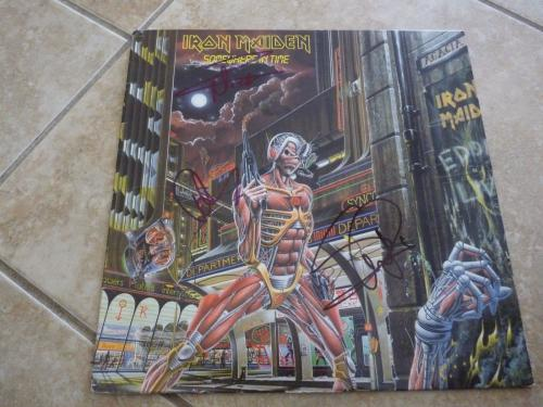 Iron Maiden Steve Dave & Nicko Signed SOMEWHERE IN TIME LP Beckett Certified