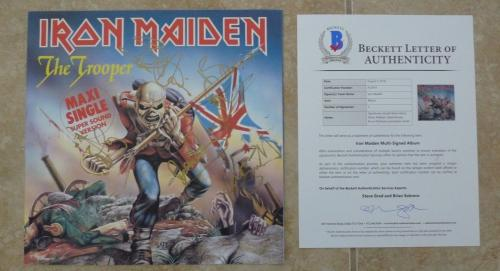 "Iron Maiden The Trooper X5 Band Signed 12"" LP Single Display BECKETT Certified"