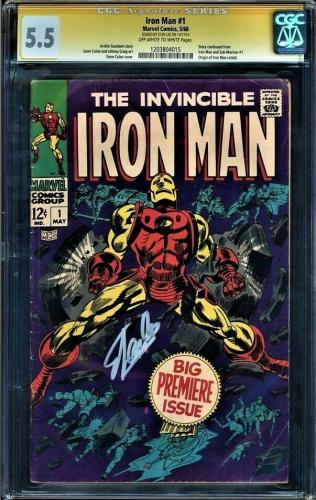 Iron Man #1 Cgc 5.5 Oww Ss Stan Lee 1st Iron Man In Own Title Cgc #1203804015