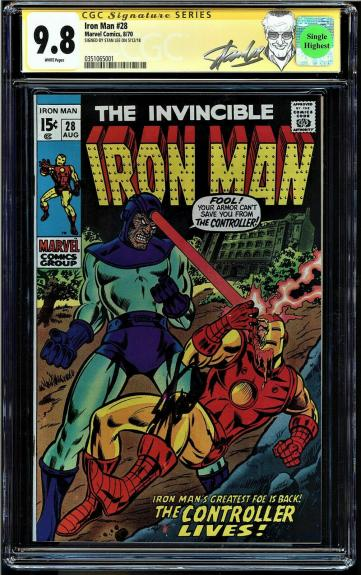 Iron Man #28 Cgc 9.8 White Ss Stan Lee Single Highest Ss Graded #0351065001