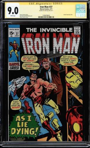 Iron Man #37 Cgc 9.0 White Pages Ss Stan Lee Signed  Cgc #1508459003