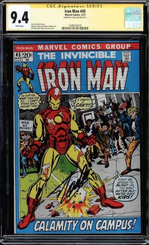 Iron Man #45 Cgc 9.4 White Pages Ss Stan Lee Single Highest Graded #1508472010