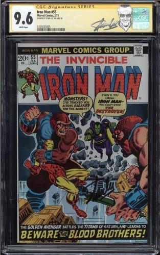 Iron Man #55 Gcc 9.6 White Pages Ss Stan Lee 1st App Of Thanos Cgc #0351035005