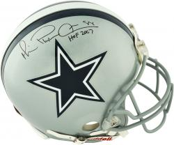 Michael Irvin Dallas Cowboys Autographed Riddell Pro-Line Authentic Helmet with HOF 2007 Inscription - - Mounted Memories