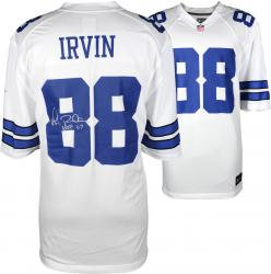 Michael Irvin Dallas Cowboys Autographed Replica White Jersey with HOF 2007 Inscription - Mounted Memories