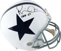 Michael Irvin Dallas Cowboys Autographed Riddell Replica Thanksgiving Helmet with HOF 2007 Inscription - Mounted Memories