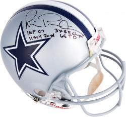 Michael Irvin Dallas Cowboys Autographed Riddell Pro-Line Authentic Helmet with Multiple Inscriptions-Limited Edition #2-#24 of #25 - Mounted Memories