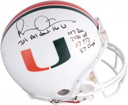 Michael Irvin Miami Hurricanes Autographed Riddell Pro-Line Authentic Helmet with Multiple Inscriptions-Limited Edition #2-#24 of #25 - Mounted Memories