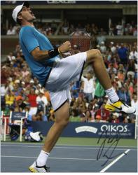 "John Isner Autographed 8"" x 10"" Blue Shirt Knee Up Photograph"