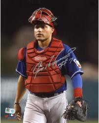 Ivan Rodriguez Texas Rangers Autographed 8'' x 10'' Standing In Catcher's Gear Vertical Photograph