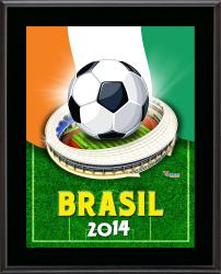 "Ivory Coast 2014 Brazil Sublimated 10.5"" x 13"" Plaque"