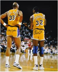 "Los Angeles Lakers Kareem Abdul-Jabaar and Magic Johnson Autographed 16"" x 20"" Photo - Mounted Memories"