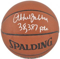 NBA Los Angeles Lakers Kareem Abdul-Jabbar Autographed Basketball with 38387 Pts Inscription - Mounted Memories