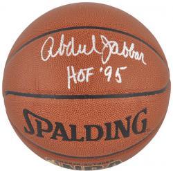 NBA Los Angeles Lakers Kareem Abdul-Jabbar Autographed Basketball with HOF '95 Inscription - Mounted Memories
