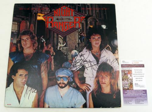Jack Blades & 2 Other Signed Album Night Ranger Midnight Madness w/ 3 JSA AUTOS