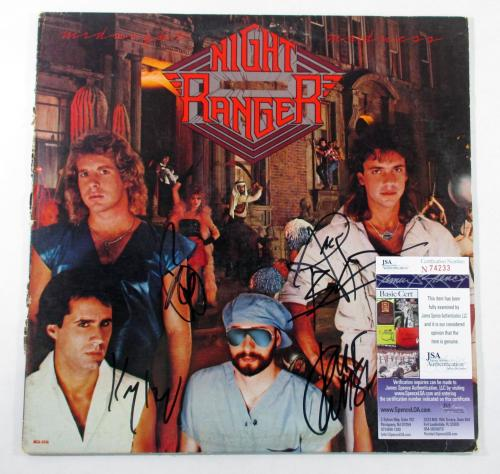 Jack Blades & 3 Other Signed Album Night Ranger Midnight Madness w/ 4 JSA AUTOS