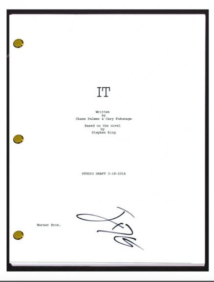 Jack Dylan Grazer Signed Autograph IT Movie Script Screenplay Eddie Kaspbrak COA