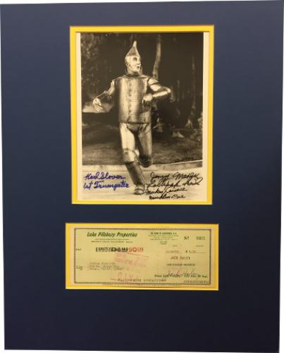 Jack Haley signed Check Wizard Oz Tin Man 8x10 Photo- 4 sig- Munchkins Mickey Carroll, Jerry Maren, Karl Slover- BAS #A86258