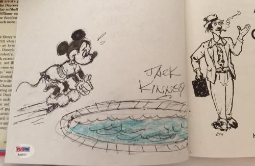 JACK KINNEY Hand Signed Mickey Mouse Sketch Walt Disney HC Book PSA/DNA COA