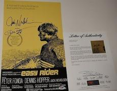 Jack Nicholson & Peter Fonda Signed Easy Rider Photo Movie Poster Psa